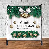 Банер Новорічний (Білий фон, гілки кулі) Merry Christmas (щасливого Різдва)