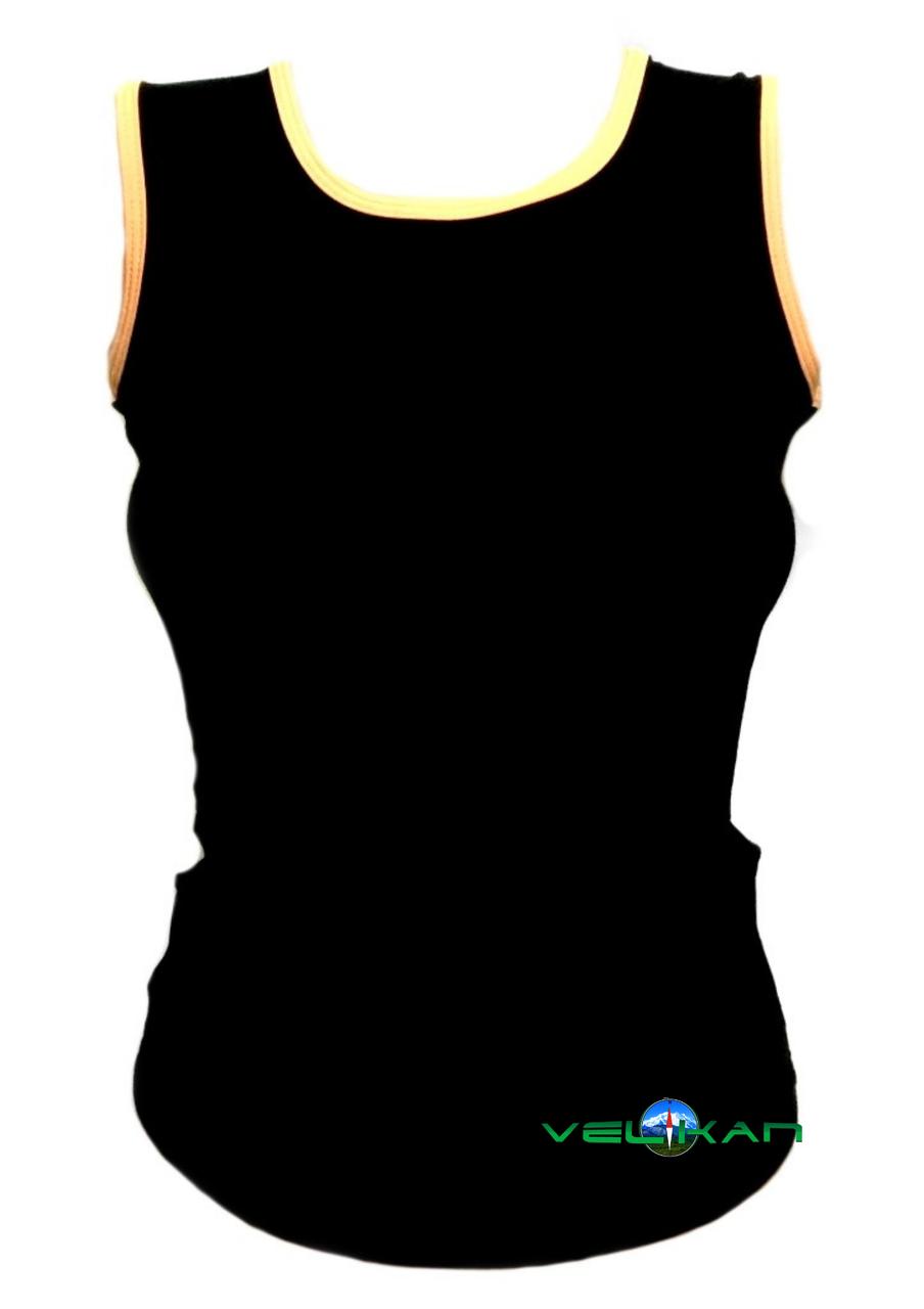 Топ майка VK с окантовкой 32р. хлопок-90% лайкра 10%  черный + оранжевый