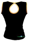 Топ майка VK с окантовкой 32р. хлопок-90% лайкра 10%  черный + оранжевый, фото 2