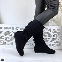Черные женские сапоги эко-замша на низком ходу Зима