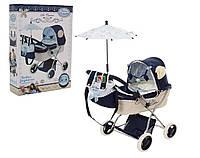 Коляска для кукол с подвесными игрушками рюкзачком и складным зонтиком. Складная конструкция. DeCuevas 85020