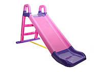 Горка детская пластиковая от 1 года фиолетово розовая для девочек Doloni Toys малая - длинна 140см высота 80см