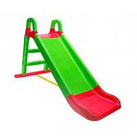 Горка детская пластиковая от 1 года зеленая с красным для малышей Doloni Toys малая - длинна 140см высота 80см