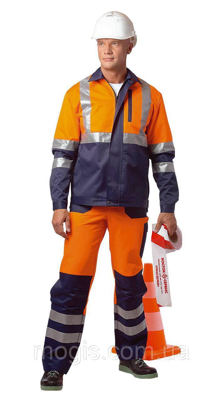 """Костюм дорожника """"Асфальт-Мастер"""" (полукомбинезон и куртка) со светоотражающими полосами"""