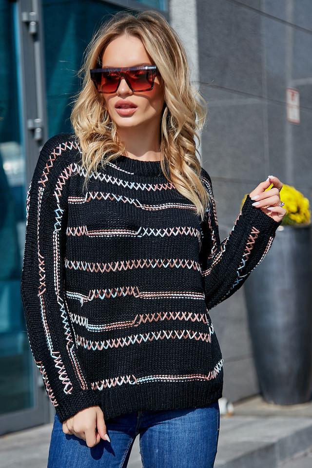 Чёрный свитер женский, р.42-48, вязка