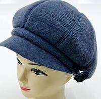 """Вовняні жіночі шапки """"Кепка 8-клинка"""" (сіро-блакитний), фото 1"""