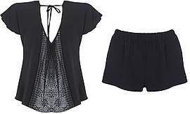 Пижама футболка + шорты Silenza SLZ21004001 XL Черная 6907207948248, КОД: 1265291