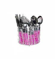 Набор столовых приборов Grid MIX-1 25 предметов на 6 персон Розовый psgST-30524, КОД: 1132814