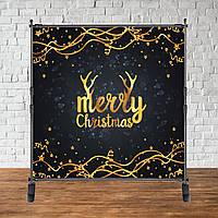 """Банер Новорічний (Оленячі Роги чорно-золотий фон) """"Merry Chrismas"""""""