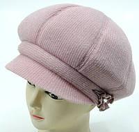 """Вовняні жіночі шапки """"Кепка 8-клинка"""" (рожевий), фото 1"""