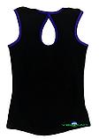 Топ майка VK с окантовкой 30р. хлопок-90% лайкра 10% черный + фиолетовый, фото 2