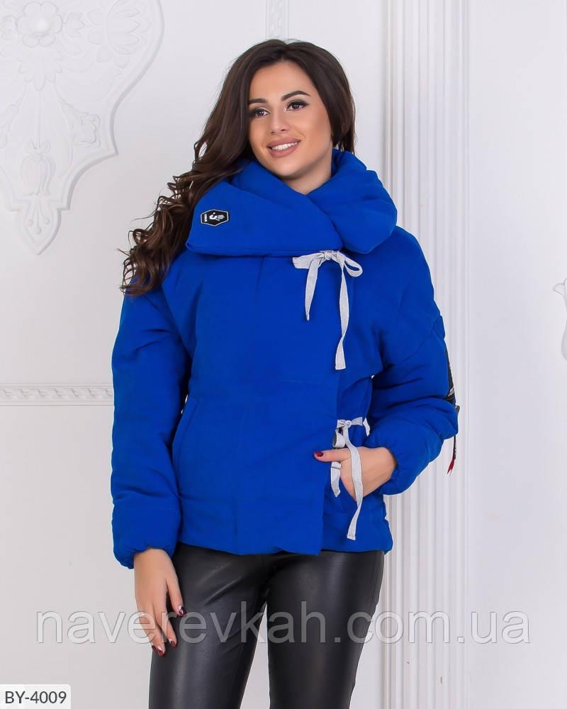 Женская осенняя куртка силикон черный электрик  42-44 46-48