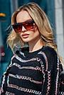 Чёрный свитер в полоску женский, р.42-48, вязка, фото 2