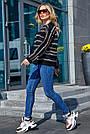 Чёрный свитер в полоску женский, р.42-48, вязка, фото 3