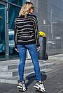 Чёрный свитер в полоску женский, р.42-48, вязка, фото 4
