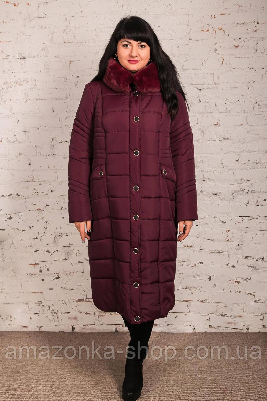Удлиненное зимнее пальто на женщин батальных размеров сезон 2020 - (модель кт-429)