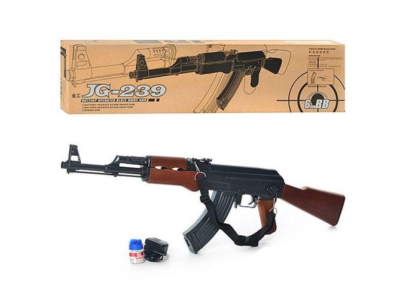 Автомат Калашникова АК-47 аккумуляторный копия детский с боеприпасами и ремешком