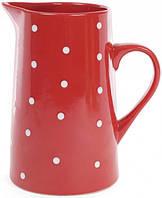 Кувшин керамический Белый горошек 1000 мл Красный sni32311632, КОД: 1218458