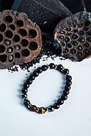 Мужской браслет из натурального камня и нержавеющей стали