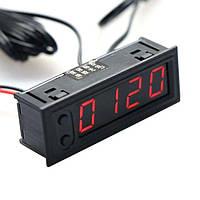 Часы - вольтметр - термометр (внутренняя и наружная температура) для авто, цвет подсветки - красный