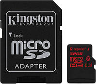 Карта памяти Kingston microSDHC SDXC UHS-I U3 90R 80W SD-adapter 32Gb 38719, КОД: 1171496