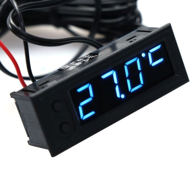 Годинник - вольтметр - термометр (внутрішня і зовнішня температура) для авто, колір дисплею - синій
