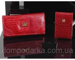 """Набор """"Kit Reqalo"""" красного цвета: портмоне и визитница от пр-ля SUGGEST AB collezioni"""