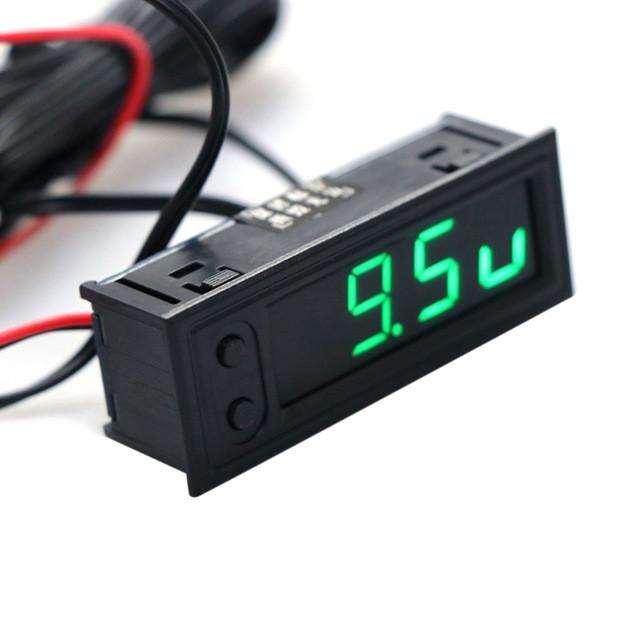 Годинник - вольтметр - термометр (внутрішня і зовнішня температура) для авто, колір дисплею - зелений