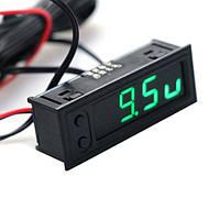 Годинник - вольтметр - термометр (внутрішня і зовнішня температура) для авто, колір дисплею - зелений, фото 1
