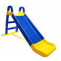 Горка детская пластиковая от 1 года синяя с желтым для малышей Doloni Toys малая - длинна 140см высота 80см