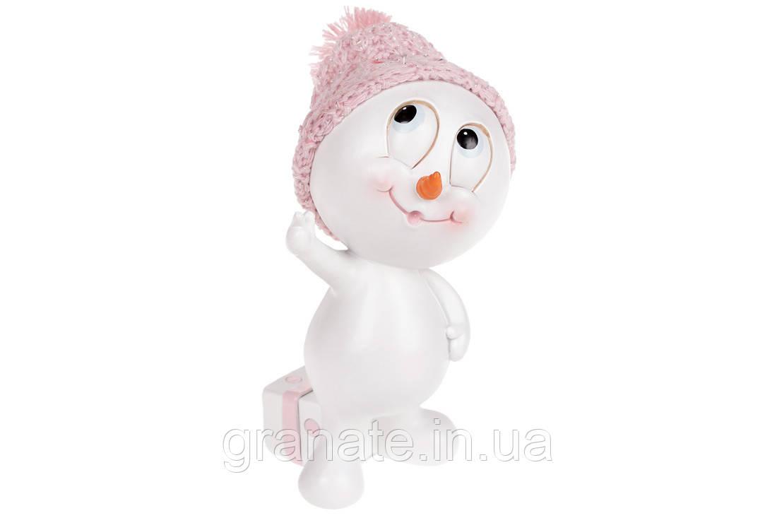 Новогодняя статуэтка Снеговик в розовой шапке, 14.5 см