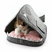 Домик для животных Digitalwool с подушкой и бубоном Рыба-кит Серый DW-91-14, КОД: 1103733