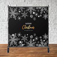 """Банер Новорічний (Чорно-срібний) """"Merry Chrismas"""""""