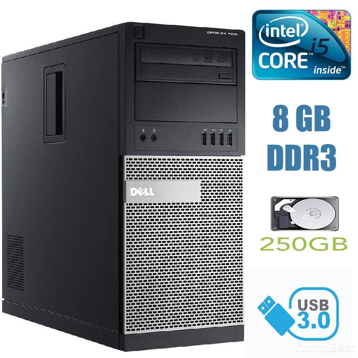 Dell Optiplex 7010 MiniTower / Intel Core i5-3570 (4 ядра по 3.40-3.80GHz) / 8 GB DDR3 / 250 GB HDD / USB 3.0