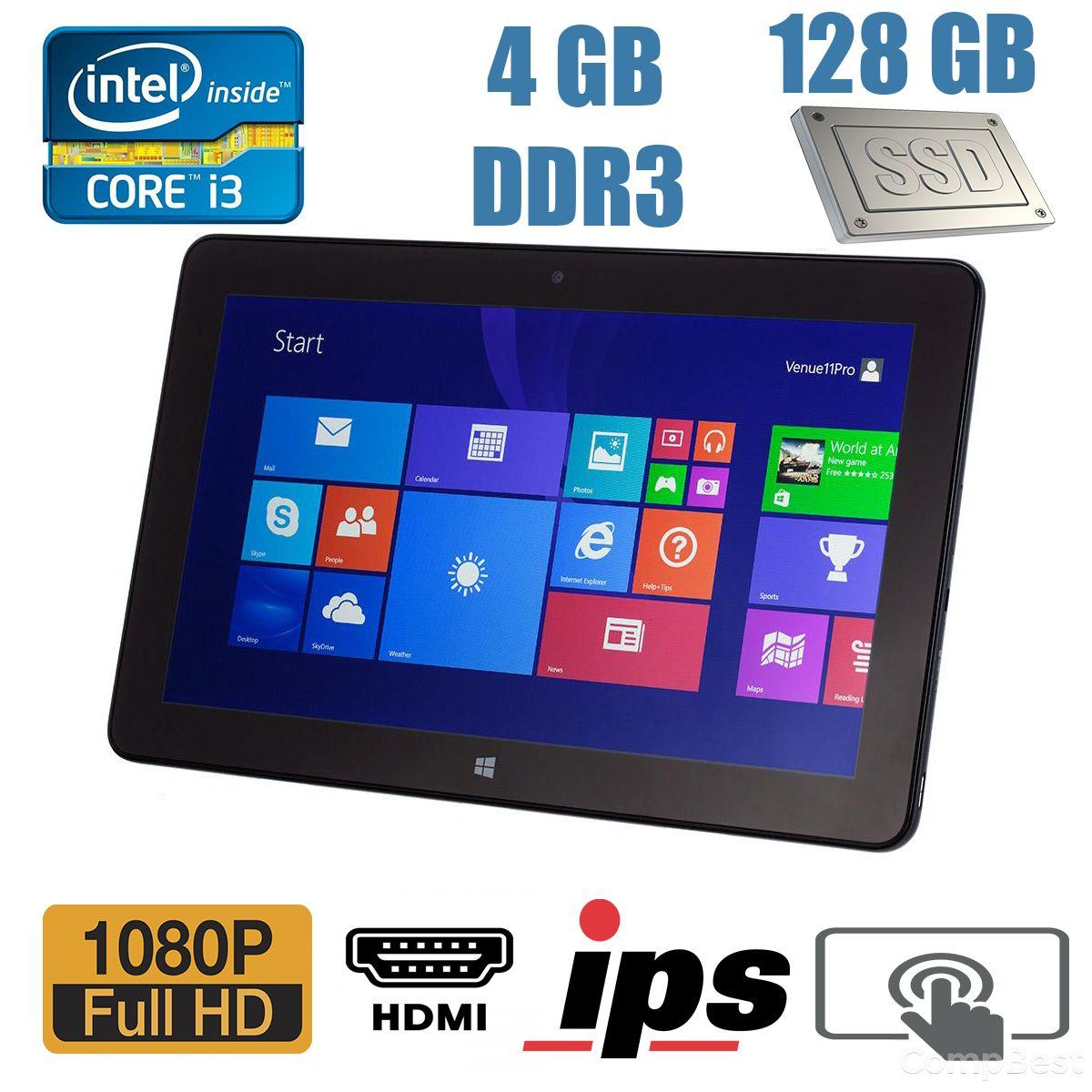 Планшет Dell Venue 11 Pro / 10.8', 1920x1080, IPS, Touch / Intel Core i3-4020Y (2 (4) ядра по 1.5GHz) / 4GB DDR3 / 128GB SSD M.2 / 8 Mpix + 2 Mpix cam