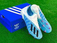 Бутсы футбольные Адидас X 19.3 голубые