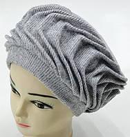 """Шерстяные женские шапки """"Волна"""" (серый), фото 1"""