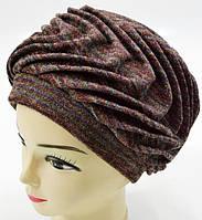 """Шерстяные женские шапки """"Волна"""" (цветная полоска), фото 1"""