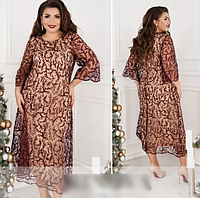 Женское платье с набивным кружевом, с 50-64 размер, фото 1