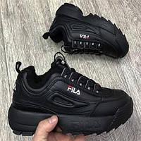 Зимние женские черные кроссовки FILA Disruptor II FUR На меху (овчинке) 1В1 Как Оригинал ААА+