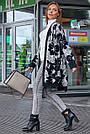 Женский повседневный кардиган, р.42-48, вязка, белый с цветами, фото 4