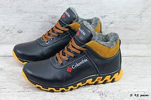 Мужские кожаные зимние ботинки/кроссовки Columbia (Реплика) (Код: Z 92 рыж  ) ►Размеры [40,41,42,43,44,45]