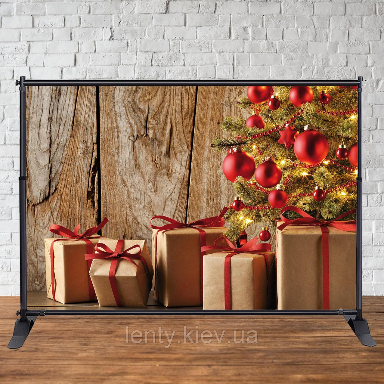 Баннер Новогодний (Деревянный фон, елка, подарки 2х3 м)