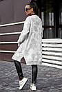 Женский кардиган повседневный, р.42-48, вязка белый с цветами, фото 6