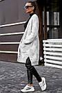 Женский кардиган повседневный, р.42-48, вязка белый с цветами, фото 5