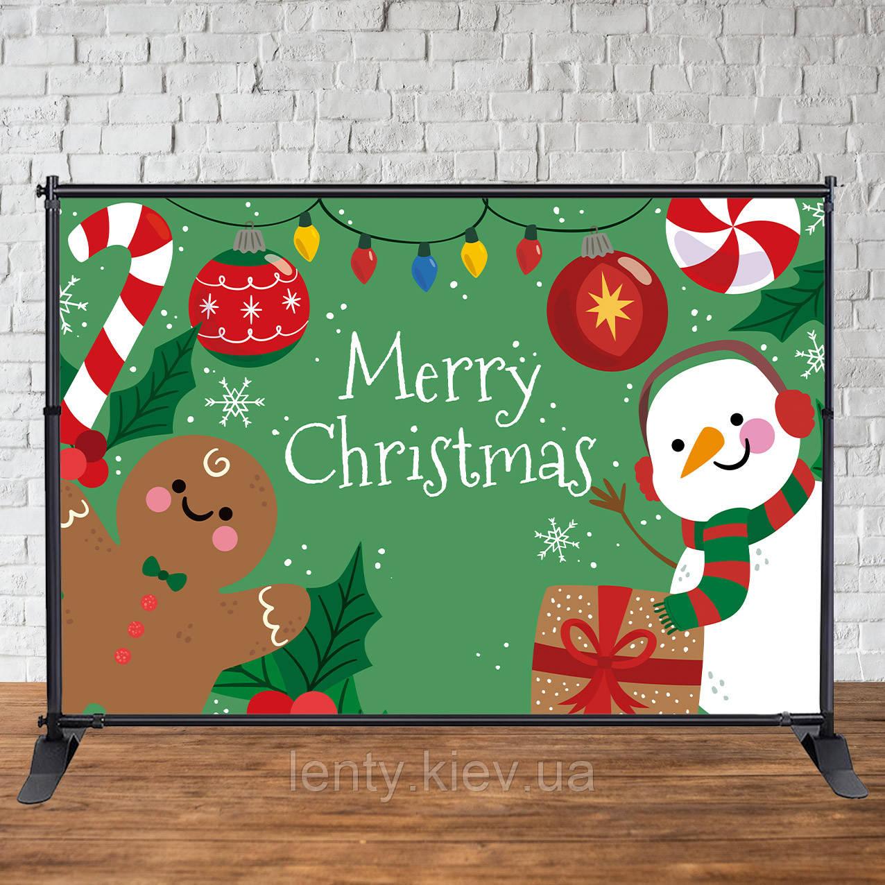 Банер Новорічний (Зелений фон сніговик і печенька 2х3 м)