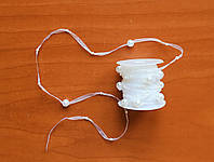 Лента из органзы на катушке 0.5 см с бусинами, 3 м