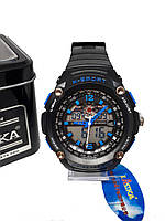 Двойные электронно-кварцевые часы K-SPORT Lines Черные KS75022BL, КОД: 1158702