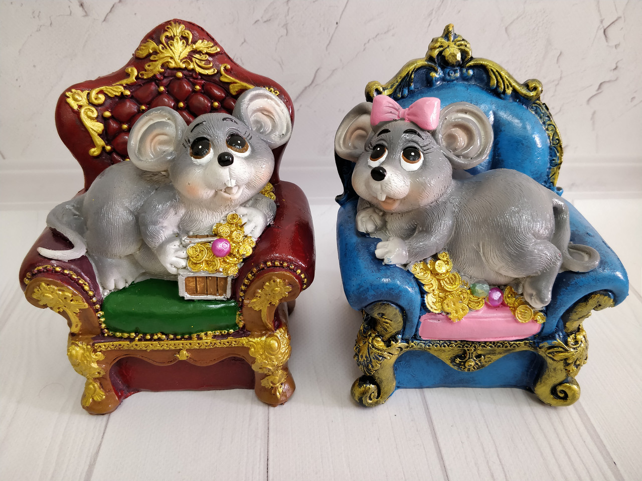 """Скарбничка сувенірна керамічна """"Мишка в кріслі"""" 12*9*15см"""