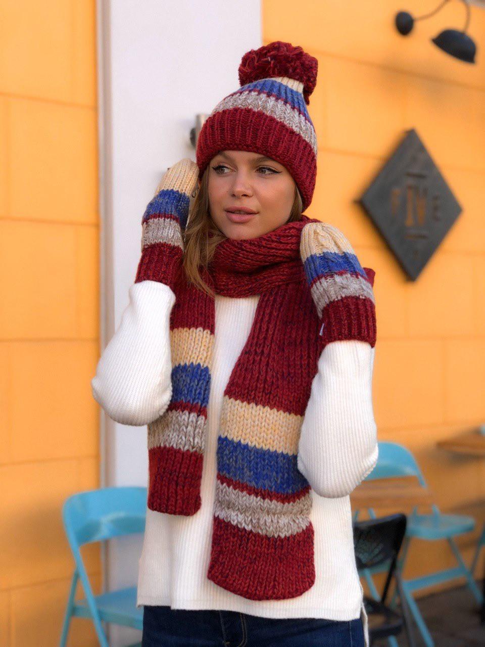 Шапка женская+ шарф+ рукавички 7730мд 3в1
